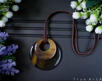 Handmade Natural Buffalo Horn Pendant Horn Necklace Horn Accessories Horn Jewelry Horn Pendant - TALQ 8011
