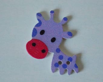 ❤ button giraffe wooden two holes