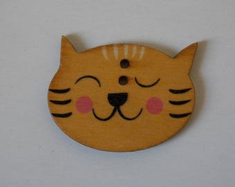 ❤ button cat wood two hole