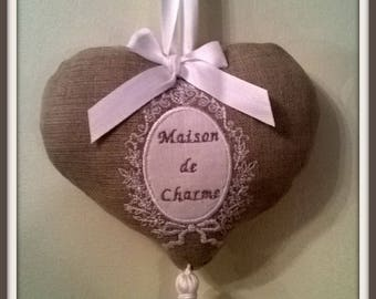"""Hanging heart embroidered """"House charm"""""""