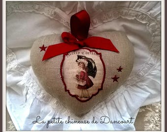 Heart embroidered Christmas vintage