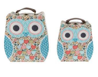Set of 2 OWL cardboard suitcase