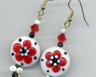 "-30% earrings could Artisanales gold plated ""Red Daisies"""