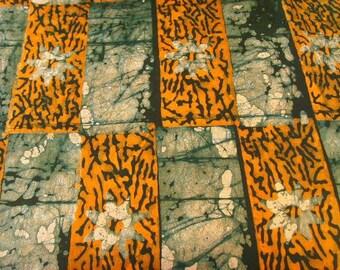 Batik by the metre - orange, green, white - pattern Nsoromma - bkbz47