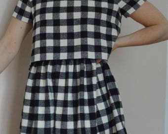 Black and white gingham cotton and wool dress