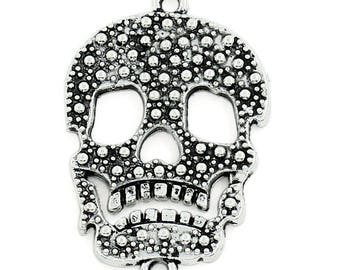 1 connector pendant 34 mm silver skull charm