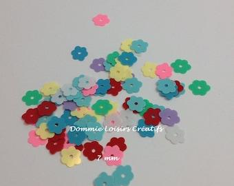 Plastic flowers multicolored sequins