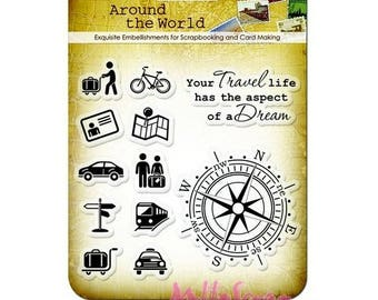 """Clear stamps """"Around the world 2"""" embellishment scrapbooking *."""
