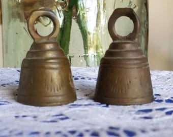 Vintage Tiny Brass Bells Set