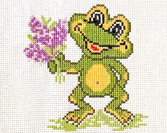 """Embroidery """"Frog with Bouquet"""""""