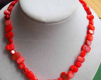 Mother of Pearl, coral, simple necklace Choker necklace, 42cm, mother of Pearl irregular rectangle 6-12mm