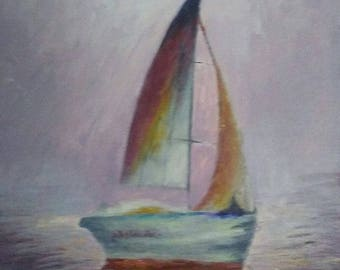 Original Acrylic Sailboat Painting