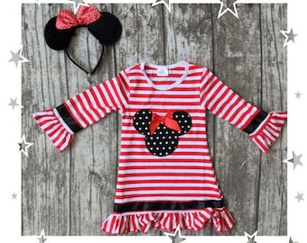 Striped Minnie Mouse Dress | Free Ears
