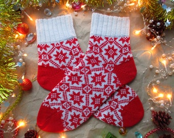 Red white bright colours New year Christmas Scandinavian pattern rustic autumn winter knit wool socks present gift knitting socks wool socks