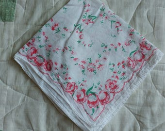 White Linen Handkerchief Printed Red and Pink Floral