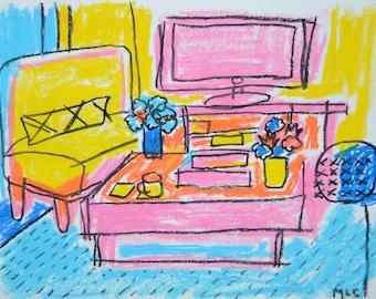 "Original Oil Pastels Illustration 9""x12""in"