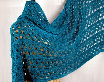 Handmade Teal Crochet Wrap/Shawl