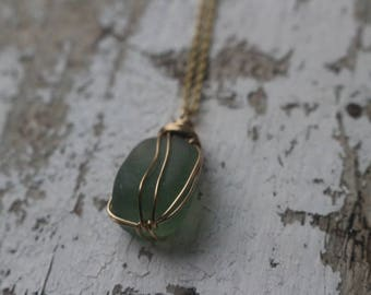 Army Green Seaglass Necklace