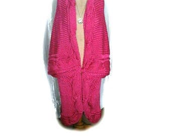 Jacket cocooning trendy hot pink satin mesh XL and plaid