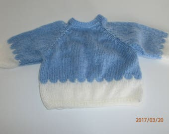 Blue and white size sweater birth