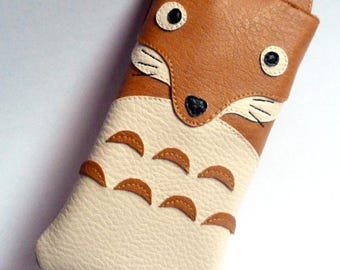 Fox leather glasses case