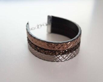 Faux leather snake - Serpent copper bracelet