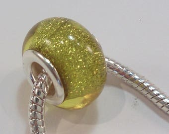 4 acrylic European beads charm's yellow glitter (7)