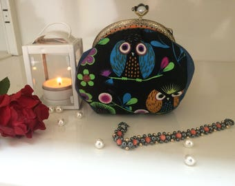 OWL purse with clasp, retro, owls