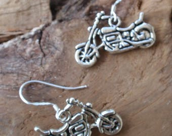 Tibetan silver motorcycle earrings, silver attachment.