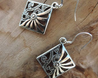 Earrings Tibetan silver square diamond. Sterling Silver bail.