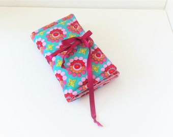 Pouch sixties cotton pink and turquoise for the girl barrettes