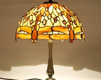 Tiffany Lamp 12'' Dragonfly 30 with Amber, Tiffany Desk Lamp, Tiffany Lamp, Desk Lamp, Lamp, Baltic Amber