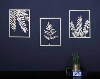 Set of 3 wall art, plants wall art, leaves wall art, laser cut design, tropical print, tropical decor, office decor, living room decor