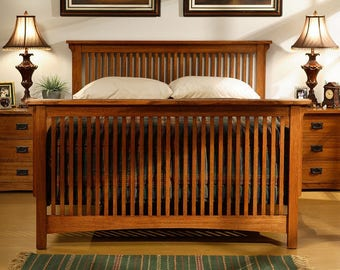 Classic Stickley Style Mission Oak Rake Spindle Bed - QUEEN / KING