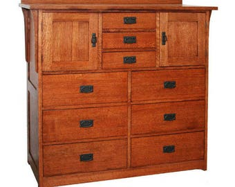 Classic Stickley Style Mission Oak 9 Drawer / 2 Door Mule Chest Dresser