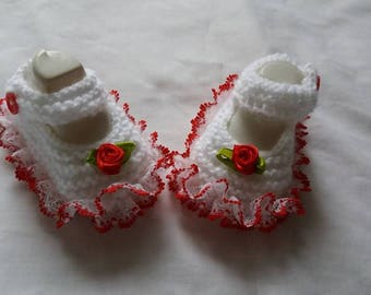 Hand Knitted White And Red Lace Baby Shoes 0/3 Months
