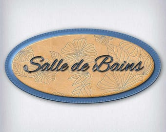 Leather and denim 053 bathroom door sign decal