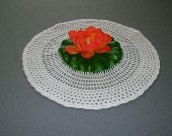 Doily crochet water lily orange 32cm