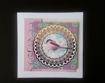 Bird and flowers greeting card blank inside