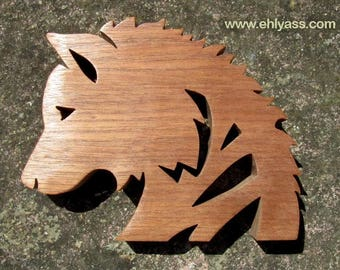 Wooden sculpture of Sapele Wolf head in fretwork