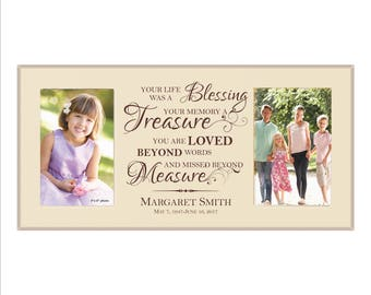 """Custom In Memory Frame, Personalized Memorial Double Frame, """"Your life was a Blessing, Your Memory a Treasure, You are Loved beyond words..."""