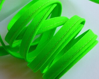 4 m green cotton piping neon 10mm