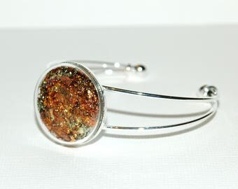 Bangle bubble of glass - gold leaf Inclusion
