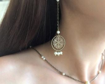 "Wedding earrings ""Mia"" with swarovski pearls"