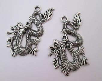 2 Pendentif dragon chinois 54 x 30 mm en métal argenté