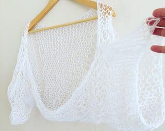Knitted White Shrug Mohair White Shrug Wedding Summer Shrug Bolero Dress Cover Up Beach Dress Ready To Ship