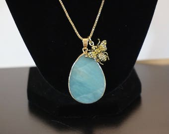 Turquoise Gemstone Bee Necklace