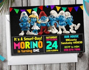 Smurfs invitation, Smurfs Birthday, Smurfs Birthday Invitation, Smurfs Party, Smurfs Party Invitation, Smurfs Printable Invite, Digital File