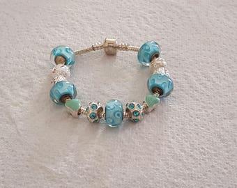 Bracelet BOHEMIAN bead murano/blue/silver/style pandora/glass/crystal/enamel/lampwork/charm European/jewelry/chic/feminine/unique/gift/heart