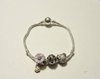 murano SPRING LOVE pearl bracelet / pandora/glass/crystal/enamel/ROSE/heart/statement/charm European/silver/pendant/flowers/lettering style